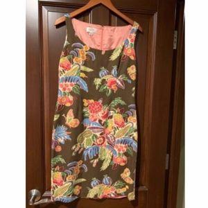 Talbots Floral Cotten Lined A-line Shift Dress 8